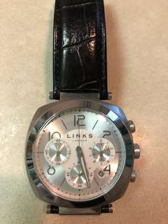 Links of London黑皮帶手錶