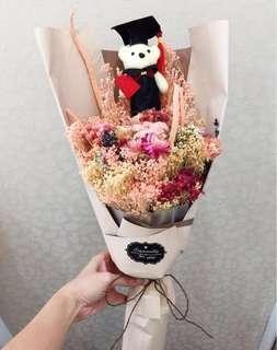 55cm Holland Dried Flower Graduation Bear Flowers Bouquet - Longer lasting