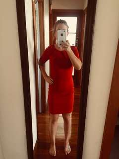 Red work dress