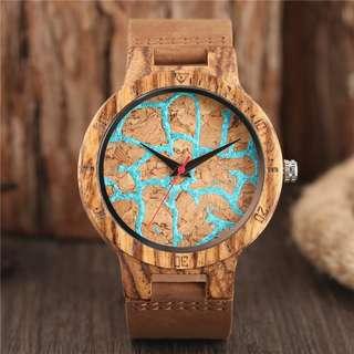 Modern Bamboo Watch Trendy Blue Lava Flow Pattern Cool Teen Boys Wooden Wristwatch Unique Men Gifts Clock horloges mannen saat