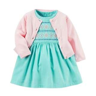☑️ INSTOCKS Authentic Carters 3-Piece Dress, Bloomer & Cardigan Set B20211A