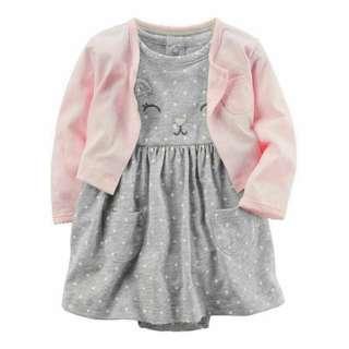 ☑️ INSTOCKS Authentic Carters 2-Piece Bodysuit Dress & Cardigan Set B20211C