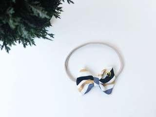 Chevron gold and black bow headband, baby headband