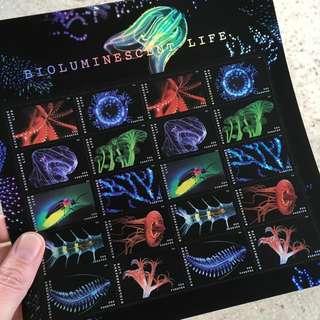 生物發光動物 美國郵票 (發光) Bioluminescent Life USA Stamps (Glow)