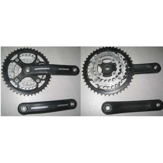 Crankset with 44-32-22T triple chainring for mountain bike