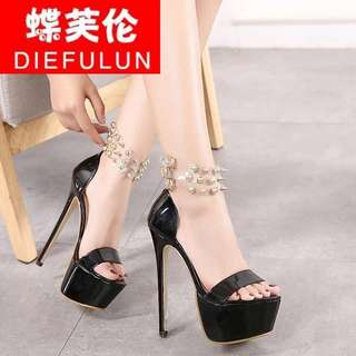 KOrean buckled ankle transparent strap open toe stiletto
