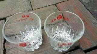 🚚 早期石橋機車水晶玻璃杯
