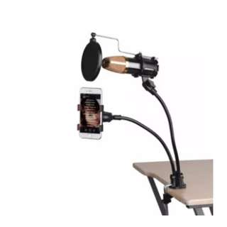 Mini Desk And Table Top Microphone Stand Phone Holder Kit