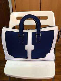 Leghila Washable Neoprene Tote Bag in Classy Sailor White and Blue (from Italy)