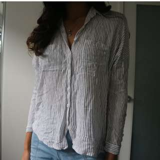 Pin Stripe Button Up Long Sleeve