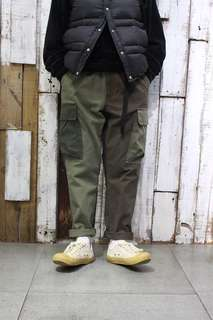 小日本拼接布工作版型鬆緊九分褲(藍色,綠色)