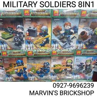 Latest! Battlegrounes Military Soldier 8in1 Minifigures