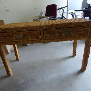 Rattan wooden 2 drawers hall table