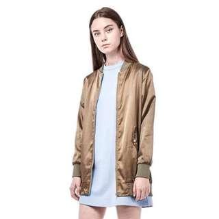 Idris long line bomber jacket in olive