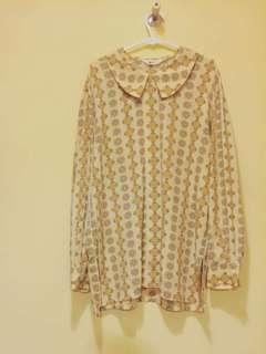 🔴私物🔴暖黃幾何圖案古著襯衫