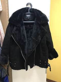 Black Autumn Winter Jacket in Suede and Fur