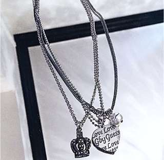 Authentic Guess Pearl Logo Crown & Heart Crystal Chain Necklace