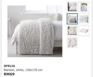 Ikea Ofelia Blanket, White (130x170cm)