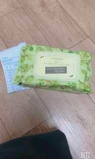 🚚 The Face shop 綠茶大容量卸妝巾(70抽)