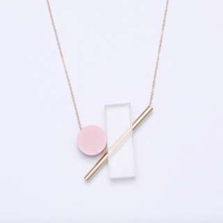 Minimalist Geometric Elements Necklace (Pink)