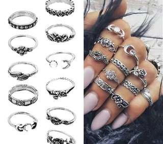 11 pieces bohemian Knuckle rings set antique (PREORDER 👊🏾)