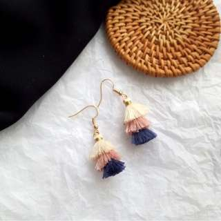 Three-tiered Tassel Earrings (Blue)