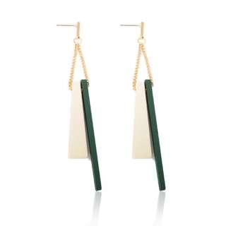 Geometric Wood Earrings (Green)