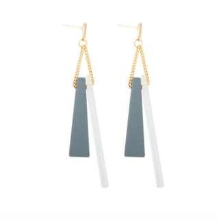 Geometric Wood Earrings (Blue)