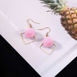 Fluffy Ball Gold Square Earrings (Pink)
