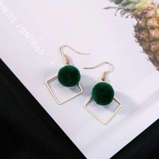 Fluffy Ball Gold Square Earrings (Forest Green)