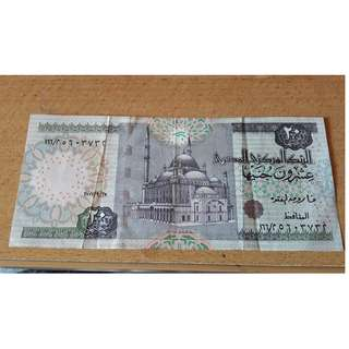 Egyptian 20 Pounds Old Notes