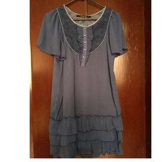 Royal Blue Korean Dress