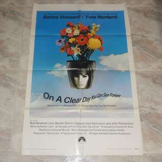 On A Clear Day You Can See Forever Original US 1 Sheet Poster 1970 Barbara Streisand Jack Nicholson Paramount