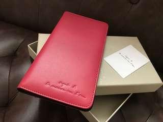 全新正品 Agnis b 皮革粉紅色 Passport Holder / Travel Wallet