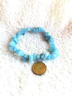 Natural Brazil Aquamarine Chips Bracelets 全天然的巴西海蓝宝芯片手链