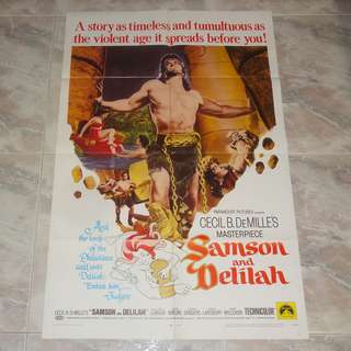 Samson And Delilah Original US 1 Sheet Poster 1968 Re-Issue Cecil B. DeMille's Victor Mature Hedy Lamarr Paramount