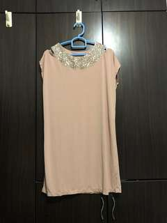 Beige sequinned shift dress
