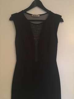 LBD Black mesh clubbing dress-small
