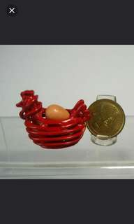 Dollhouse Miniature : A red basket with 4 eggs