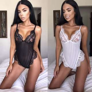 Sheer Lace Bodysuit Lingerie