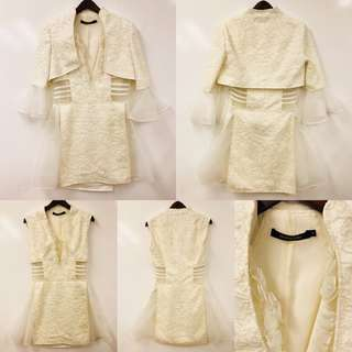 Marie Elie cream white with beads twin set dress size 38