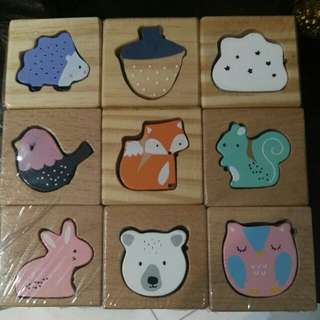 Wooden animal block set