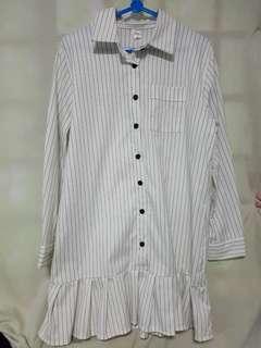 White stripe shirt dress
