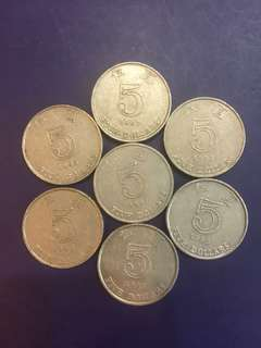 Hong Kong $5 year 1990s, (7pcs) Lowest Price in Carousell