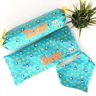 Cheekie Monkie Personalised Baby Pillows and Bib 3pc Gift Set
