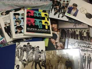 Kpop Albums (Super Junior, Super Junior-M, EXO) w/ photocards and posters