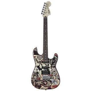 Squier Special Obey Graphic Stratocaster Electric Guitar, Collage