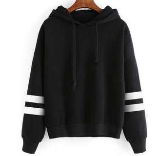 PO striped sleeved hoodie