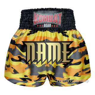 Customize Kombat Gear Muay Thai Boxing MMA Shorts Yellow Camouflage