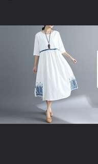 麻質連身裙 (大碼)